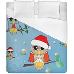 Funny, Cute Christmas Owls With Snowflakes Duvet Cover Single Side (double Size) by FantasyWorld7