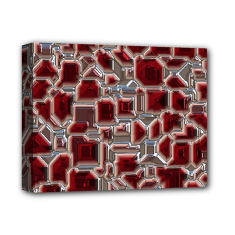 Metalart 23 Red Silver Deluxe Canvas 14  X 11  by MoreColorsinLife