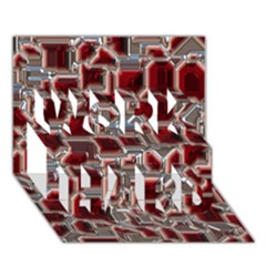 Metalart 23 Red Silver Work Hard 3d Greeting Card (7x5)  by MoreColorsinLife