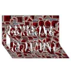 Metalart 23 Red Silver Congrats Graduate 3d Greeting Card (8x4)  by MoreColorsinLife