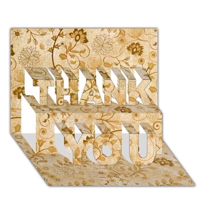 Flower Pattern In Soft  Colors THANK YOU 3D Greeting Card (7x5)