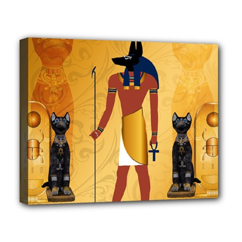Anubis, Ancient Egyptian God Of The Dead Rituals  Deluxe Canvas 20  X 16   by FantasyWorld7