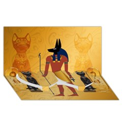 Anubis, Ancient Egyptian God Of The Dead Rituals  Twin Heart Bottom 3d Greeting Card (8x4)  by FantasyWorld7