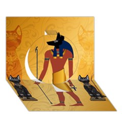 Anubis, Ancient Egyptian God Of The Dead Rituals  Circle 3d Greeting Card (7x5)  by FantasyWorld7