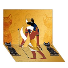 Anubis, Ancient Egyptian God Of The Dead Rituals  Ribbon 3d Greeting Card (7x5)  by FantasyWorld7