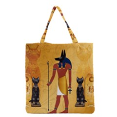 Anubis, Ancient Egyptian God Of The Dead Rituals  Grocery Tote Bags by FantasyWorld7