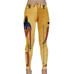 Anubis, Ancient Egyptian God Of The Dead Rituals  Yoga Leggings by FantasyWorld7