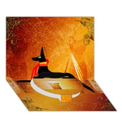 Anubis, Ancient Egyptian God Of The Dead Rituals  Circle Bottom 3d Greeting Card (7x5)  by FantasyWorld7