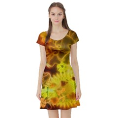 Glowing Colorful Flowers Short Sleeve Skater Dresses by FantasyWorld7