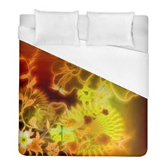 Glowing Colorful Flowers Duvet Cover Single Side (twin Size) by FantasyWorld7