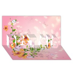Beautiful Flowers On Soft Pink Background Best Sis 3d Greeting Card (8x4)  by FantasyWorld7
