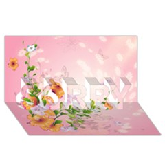 Beautiful Flowers On Soft Pink Background Sorry 3d Greeting Card (8x4)  by FantasyWorld7