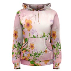 Beautiful Flowers On Soft Pink Background Women s Pullover Hoodies