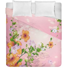 Beautiful Flowers On Soft Pink Background Duvet Cover (double Size) by FantasyWorld7