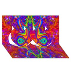 Abstract 1 Twin Hearts 3d Greeting Card (8x4)  by icarusismartdesigns