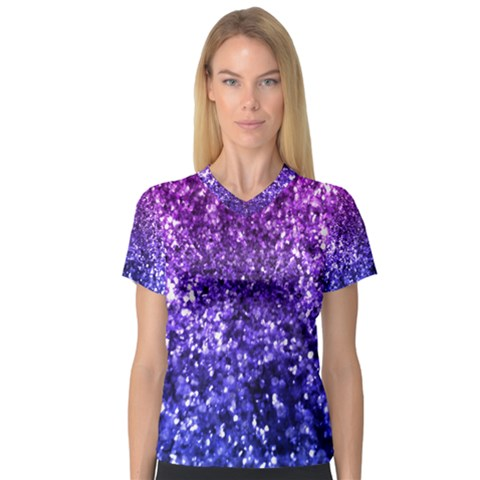 Midnight Glitter Women s V-neck Sport Mesh Tee by KirstenStarFashion
