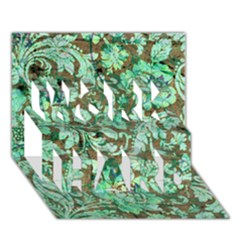 Beautiful Floral Pattern In Green Work Hard 3d Greeting Card (7x5)  by FantasyWorld7