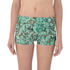 Beautiful Floral Pattern In Green Reversible Boyleg Bikini Bottoms by FantasyWorld7