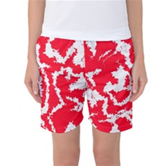 Migraine Red White Women s Basketball Shorts by MoreColorsinLife