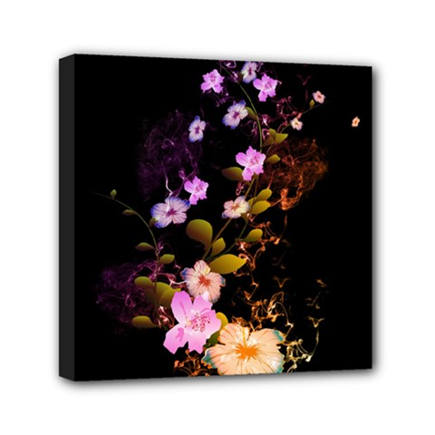 Awesome Flowers With Fire And Flame Mini Canvas 6  X 6