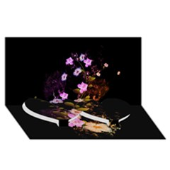 Awesome Flowers With Fire And Flame Twin Heart Bottom 3d Greeting Card (8x4)  by FantasyWorld7