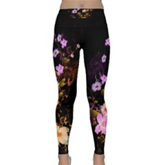 Awesome Flowers With Fire And Flame Yoga Leggings by FantasyWorld7