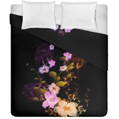 Awesome Flowers With Fire And Flame Duvet Cover (double Size) by FantasyWorld7