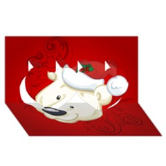 Funny Polar Bear Twin Hearts 3d Greeting Card (8x4)  by FantasyWorld7