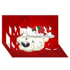 Funny Polar Bear Merry Xmas 3d Greeting Card (8x4)  by FantasyWorld7