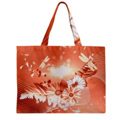 Amazing Flowers With Dragonflies Zipper Tiny Tote Bags by FantasyWorld7