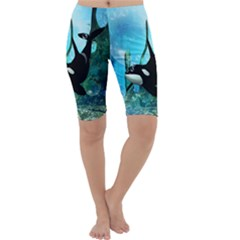 Orca Swimming In A Fantasy World Cropped Leggings by FantasyWorld7