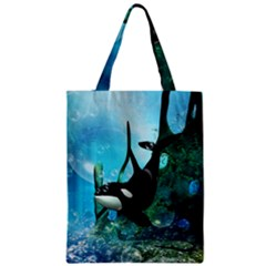 Orca Swimming In A Fantasy World Zipper Classic Tote Bags by FantasyWorld7