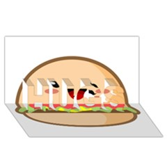 Kawaii Burger Hugs 3d Greeting Card (8x4)  by KawaiiKawaii