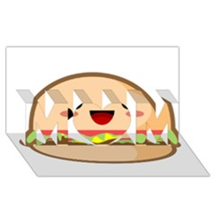 Kawaii Burger Mom 3d Greeting Card (8x4)  by KawaiiKawaii