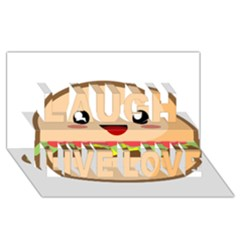 Kawaii Burger Laugh Live Love 3d Greeting Card (8x4)  by KawaiiKawaii