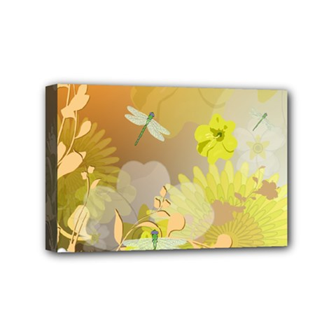 Beautiful Yellow Flowers With Dragonflies Mini Canvas 6  X 4  by FantasyWorld7