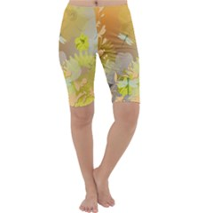 Beautiful Yellow Flowers With Dragonflies Cropped Leggings by FantasyWorld7