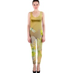 Beautiful Yellow Flowers With Dragonflies Onepiece Catsuits by FantasyWorld7