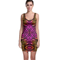 Florescent Pink Zebra Pattern  Bodycon Dresses by OCDesignss