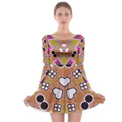 Pink Black Yellow Abstract  Long Sleeve Skater Dress by OCDesignss