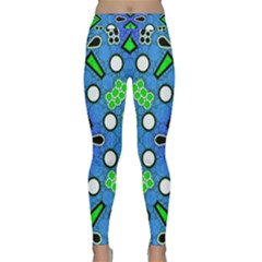 Florescent Blue Green Abstract  Yoga Leggings by OCDesignss