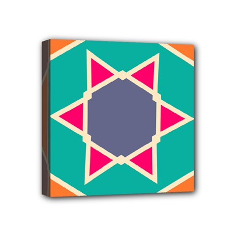 Red Retro Star Mini Canvas 4  X 4  (stretched) by LalyLauraFLM