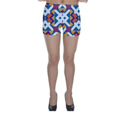 Shapes In Rectangles Pattern Skinny Shorts by LalyLauraFLM