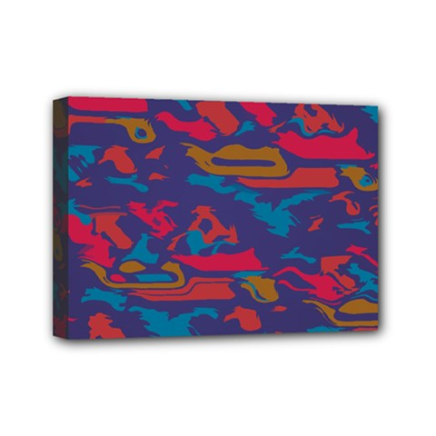 Chaos In Retro Colors Mini Canvas 7  X 5  (stretched) by LalyLauraFLM