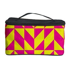 Pink And Yellow Shapes Pattern Cosmetic Storage Case by LalyLauraFLM