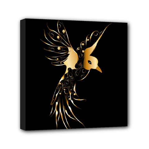 Beautiful Bird In Gold And Black Mini Canvas 6  X 6