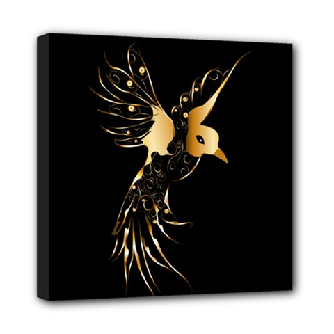 Beautiful Bird In Gold And Black Mini Canvas 8  X 8