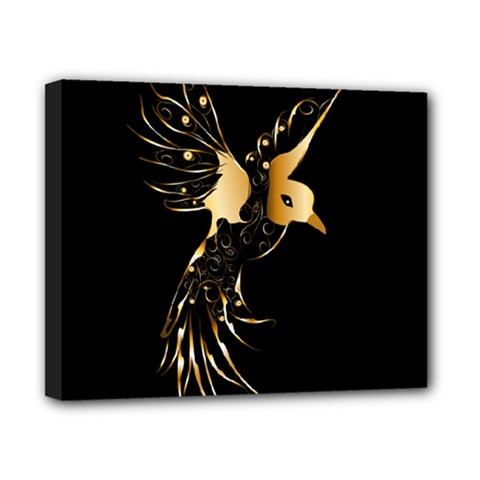 Beautiful Bird In Gold And Black Canvas 10  X 8
