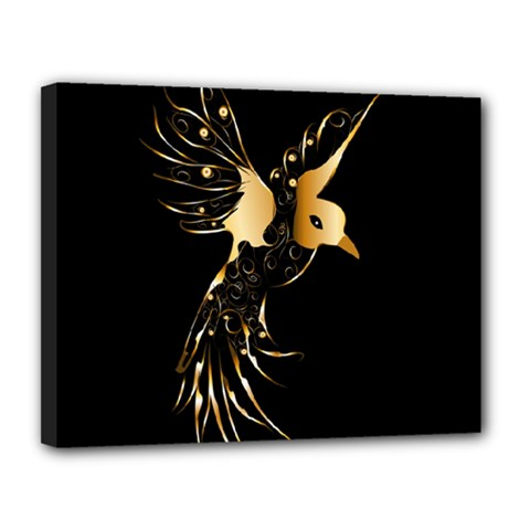 Beautiful Bird In Gold And Black Canvas 14  X 11