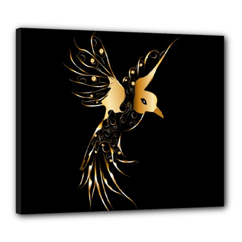 Beautiful Bird In Gold And Black Canvas 24  X 20